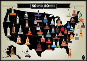 Map of the top 50 spirits distilled in the 50 states